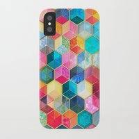 bohemian iPhone & iPod Cases featuring Crystal Bohemian Honeycomb Cubes - colorful hexagon pattern  by micklyn