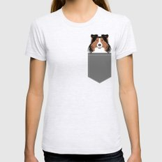 Jordan - Shetland Sheep Dog gifts for sheltie owners and dog people gift ideas perfect dog gifts Ash Grey MEDIUM Womens Fitted Tee