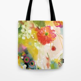 abstract floral art in yellow green and rose magenta colors Tote Bag