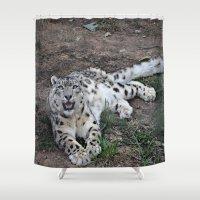 snow leopard Shower Curtains featuring Snow Leopard by Kaleena Kollmeier