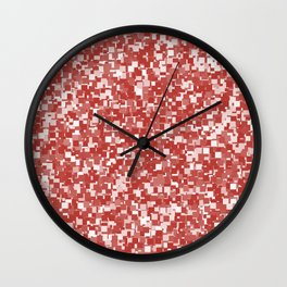 Aurora Red Pixels Wall Clock