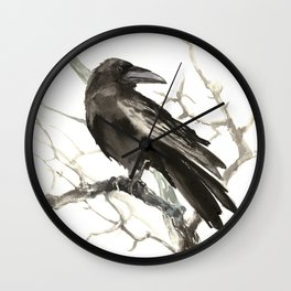Raven on the Tree Wall Clock