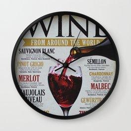 Vintage Various Wines Advertisement Wall Art Wall Clock