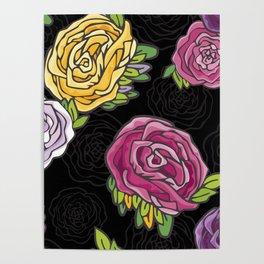 Retro Roses Poster