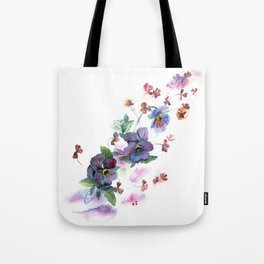 Watercolor hand painted pansies in gentle tone. Tote Bag