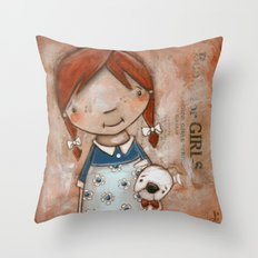 Her Favorite Fella - Red-haired girl and white boxer Throw Pillow