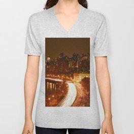 New York City Night Skyline. Unisex V-Neck