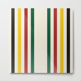 Rustic Lodge Stripes Black Yellow Red Green Metal Print