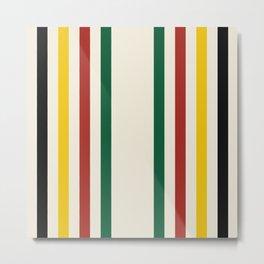 Rustic Lodge Stripes Black Yellow Red Green Metal Print