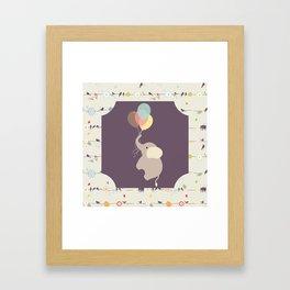 Elephant with Balloons & birds , nursery decor , Framed Art Print