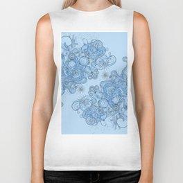 Blue floral swirls Biker Tank