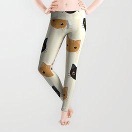 Cute Kitten & Stripes Pattern Leggings