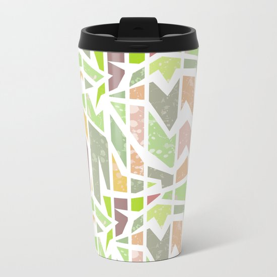 Abstract pattern . Geometric shapes . Metal Travel Mug