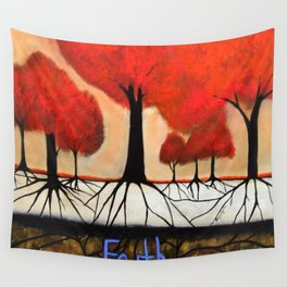 Roots--spiritual abstract painting by Saribelle Wall Tapestry