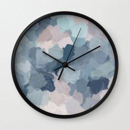 Mint Aqua Navy Indigo Blue Blush Pink Abstract Nature Ocean Painting Art Print Wall Decor  Wall Clock