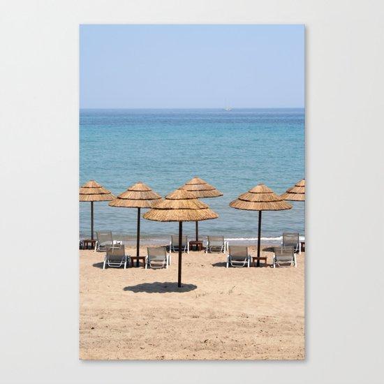 Beach Umbrellas, Zante Canvas Print