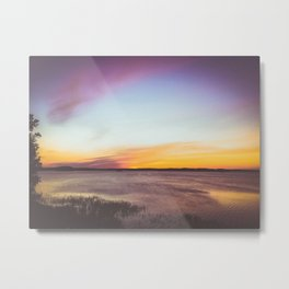peaceful pink sunset over a lake Metal Print