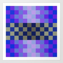 Blue Sky With A Cloud In Pixel Art Print