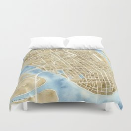 Charleston, South Carolina City Map Art Print Duvet Cover