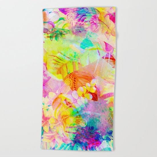 flowers pink yellow Beach Towel