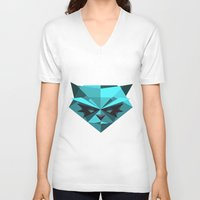 racoon V-neck T-shirts featuring Rocky Racoon by rybbrybson
