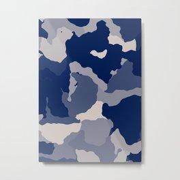 Blue Camo abstract Metal Print