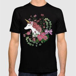 Unicorn in a Pink Rose Garden T-shirt