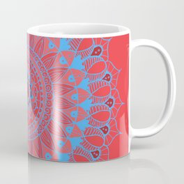Summer Mandala Blue and Pink Rose Coffee Mug