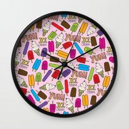 Ice Cream Doodles Wall Clock