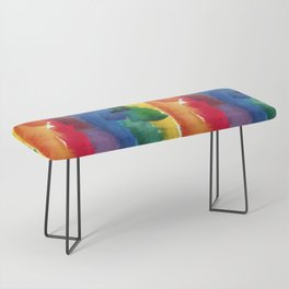 rainbow watercolor Bench