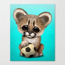 Cougar Cub With Football Soccer Ball Canvas Print