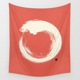 Red Enso / Japanese Zen Circle Wall Tapestry