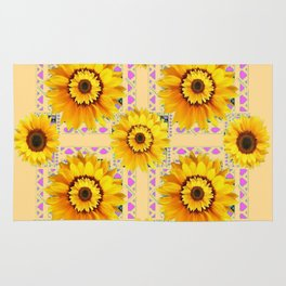 CREAM COLOR WESTERN STYLE YELLOW SUNFLOWERS Rug