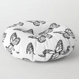 Monarch Butterfly - Black and White Color Palette Floor Pillow