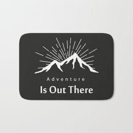 Adventure Is Out There Mountain print, Black & White Bath Mat