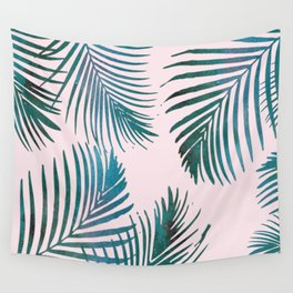 Green Palm Leaves on Light Pink Wall Tapestry