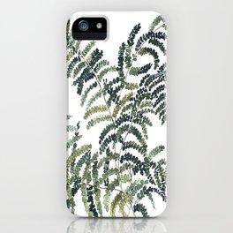 Woodland Fern Botanical Watercolor Illustration Painting iPhone Case