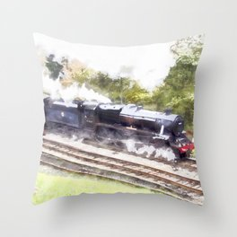 Scarborough Spa Express in Water colour Throw Pillow