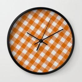 Orange classic checkered tablecloth texture Wall Clock