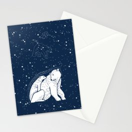 Polar Bear and Constellation Arctic Night Sky Stars Stationery Cards