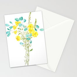 yellow flower and green eucalyptus leaf Stationery Cards