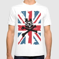 Bear Picnic Union Jack White MEDIUM Mens Fitted Tee