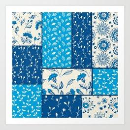 Floral patchwork in blue Art Print