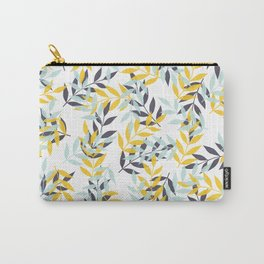 Leaf Party - Yellow/Blue - Block Print Pattern Carry-All Pouch