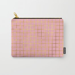 Pink & Gold Grid Carry-All Pouch