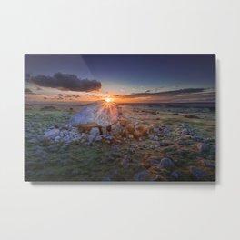 Sunset at Arthur's stone Metal Print