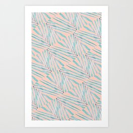 Palm Leaves Coral Art Print