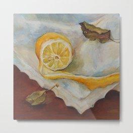 Still life with Lemon Oil painting on canvas Yellow Cirtus Fruit Home decor Metal Print