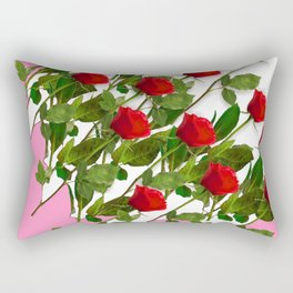 RED LONG STEMMED ROSES & PINK COLOR Rectangular Pillow