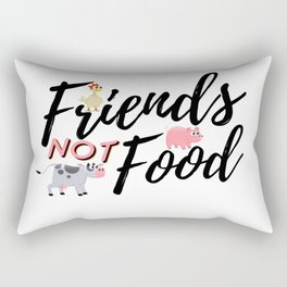 Friends Not Food Animal Rights Activist Present Gift Cow Chicken Pig Rectangular Pillow